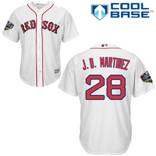 Youth Boston Red Sox #28 J. D. Martinez White Cool Base 2018 World Series Stitched Baseball Jersey