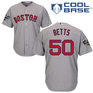 Youth Boston Red Sox #50 Mookie Betts Grey Cool Base 2018 World Series Stitched Baseball Jersey