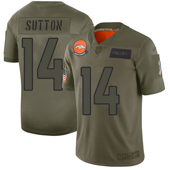 Youth Broncos #14 Courtland Sutton Camo Stitched Football Limited 2019 Salute To Service Jersey