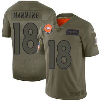 Youth Broncos #18 Peyton Manning Camo Stitched Football Limited 2019 Salute To Service Jersey