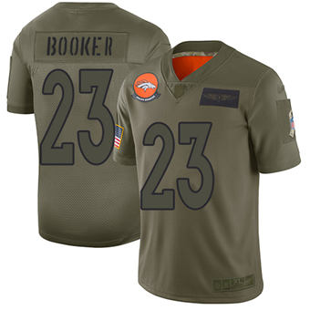 Youth Broncos #23 Devontae Booker Camo Stitched Football Limited 2019 Salute To Service Jersey