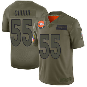 Youth Broncos #55 Bradley Chubb Camo Stitched Football Limited 2019 Salute To Service Jersey