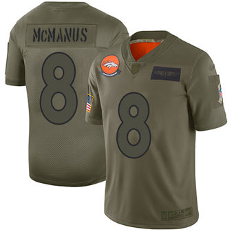 Youth Broncos #8 Brandon McManus Camo Stitched Football Limited 2019 Salute To Service Jersey