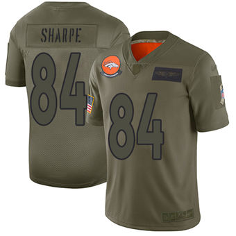 Youth Broncos #84 Shannon Sharpe Camo Stitched Football Limited 2019 Salute To Service Jersey