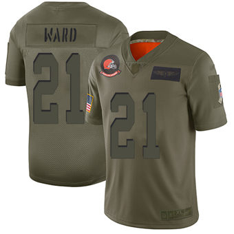 Youth Browns #21 Denzel Ward Camo Stitched Football Limited 2019 Salute To Service Jersey