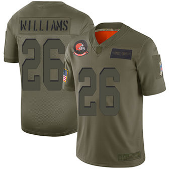 Youth Browns #26 Greedy Williams Camo Stitched Football Limited 2019 Salute To Service Jersey