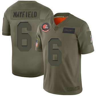 Youth Browns #6 Baker Mayfield Camo Stitched Football Limited 2019 Salute To Service Jersey