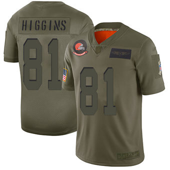 Youth Browns #81 Rashard Higgins Camo Stitched Football Limited 2019 Salute To Service Jersey