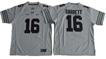 Youth Buckeyes #16 J. T. Barrett Gridion Grey II Stitched NCAA Jersey