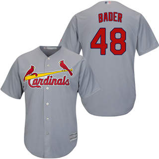 Youth Cardinals #48 Harrison Bader Grey New Cool Base Stitched Baseball Jersey