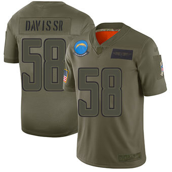 Youth Chargers #58 Thomas Davis Sr Camo Stitched Football Limited 2019 Salute To Service Jersey