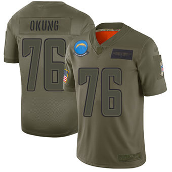 Youth Chargers #76 Russell Okung Camo Stitched Football Limited 2019 Salute To Service Jersey