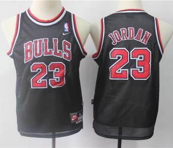 Youth Chicago Bulls #23 Michael Jordan Black Basketball  Throwback Jersey