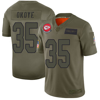Youth Chiefs #35 Christian Okoye Camo Stitched Football Limited 2019 Salute To Service Jersey