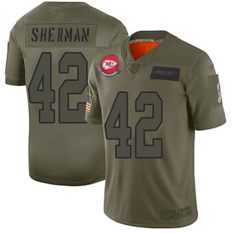 Youth Chiefs #42 Anthony Sherman Camo Stitched Football Limited 2019 Salute To Service Jersey