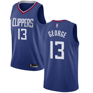 Youth Clippers #13 Paul George Blue Basketball Swingman Icon Edition Jersey