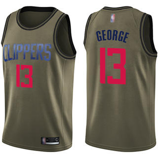 Youth Clippers #13 Paul George Green Basketball Swingman Salute to Service Jersey
