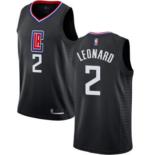 Youth Clippers #2 Kawhi Leonard Black Basketball Swingman Statement Edition Jersey