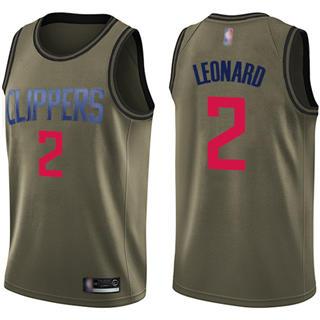 Youth Clippers #2 Kawhi Leonard Green Salute to Service Basketball Swingman Jersey