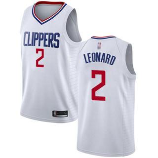 Youth Clippers #2 Kawhi Leonard White Basketball Swingman Association Edition Jersey
