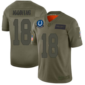 Youth Colts #18 Peyton Manning Camo Stitched Football Limited 2019 Salute To Service Jersey