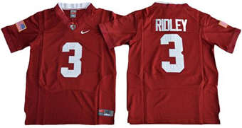 Youth Crimson Tide #3 Calvin Ridley Red Pro Combat Stitched NCAA Jersey