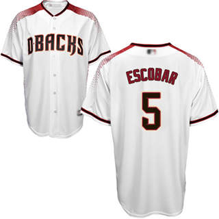 Youth Diamondbacks #5 Eduardo Escobar White Crimson Home Stitched Baseball Jersey