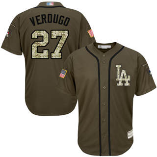 Youth Dodgers #27 Alex Verdugo Green Salute to Service Stitched Baseball Jersey