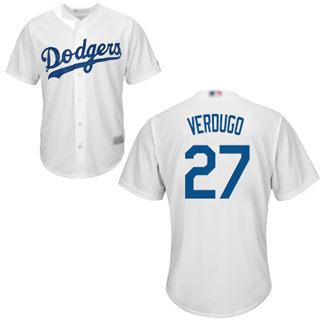 Youth Dodgers #27 Alex Verdugo White Cool Base Stitched Baseball Jersey