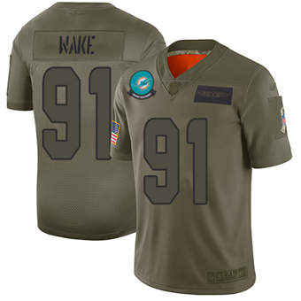 Youth Dolphins #91 Cameron Wake Camo Stitched Football Limited 2019 Salute To Service Jersey