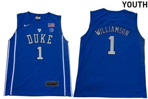 Youth Duke Blue Devils #1 Zion Williamson Blue Elite Stitched College Basketball Jersey