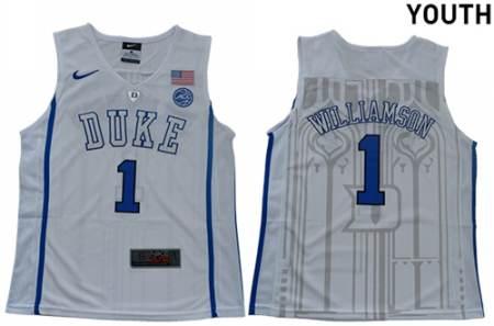 Youth Duke Blue Devils #1 Zion Williamson White Elite Stitched College Basketball Jersey