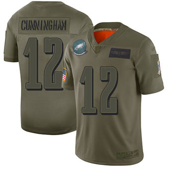 Youth Eagles #12 Randall Cunningham Camo Stitched Football Limited 2019 Salute To Service Jersey