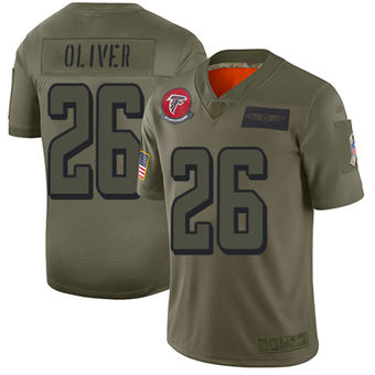 Youth Falcons #26 Isaiah Oliver Camo Stitched Football Limited 2019 Salute To Service Jersey