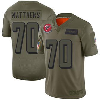 Youth Falcons #70 Jake Matthews Camo Stitched Football Limited 2019 Salute To Service Jersey
