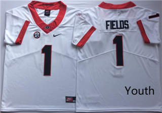 Youth Georgia Bulldogs 1 Justin Fields White Youth  NCAA College Football Jersey