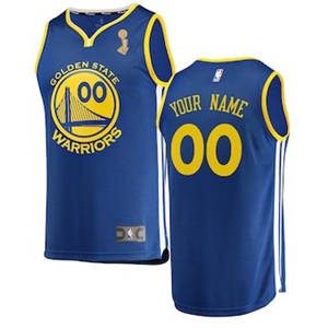 Youth Golden State Warriors Royal 2018 Basketball Finals Champions Custom Jersey – Icon Edition
