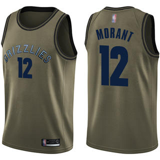 Youth Grizzlies #12 Ja Morant Green Basketball Swingman Salute to Service Jersey