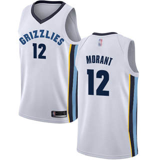 Youth Grizzlies #12 Ja Morant White Basketball Swingman Association Edition Jersey