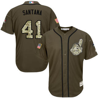 Youth Indians #41 Carlos Santana Green Salute to Service Stitched Baseball Jersey