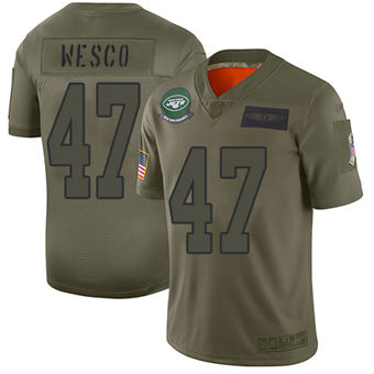 Youth Jets #47 Trevon Wesco Camo Stitched Football Limited 2019 Salute To Service Jersey
