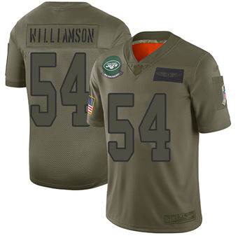 Youth Jets #54 Avery Williamson Camo Stitched Football Limited 2019 Salute To Service Jersey