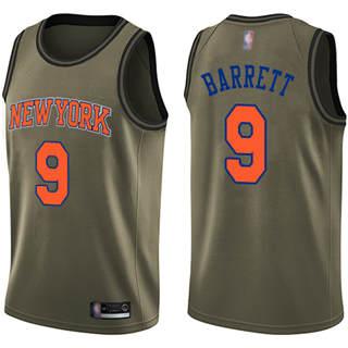 Youth Knicks #9 R.J. Barrett Green Salute to Service Basketball Swingman Jersey