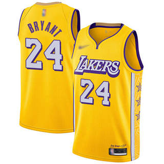 Youth Lakers #24 Kobe Bryant Gold Basketball Swingman City Edition 2019-2020 Jersey