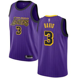 Youth Lakers #3 Anthony Davis Purple Basketball Swingman City Edition 2018-19 Jersey