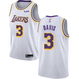 Youth Lakers #3 Anthony Davis White Basketball Swingman Association Edition Jersey