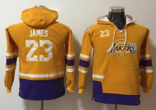 Youth Lakers 23 Lebron James Gold All Stitched Hooded Sweatshirt