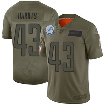 Youth Lions #43 Will Harris Camo Stitched Football Limited 2019 Salute To Service Jersey