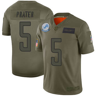 Youth Lions #5 Matt Prater Camo Stitched Football Limited 2019 Salute To Service Jersey