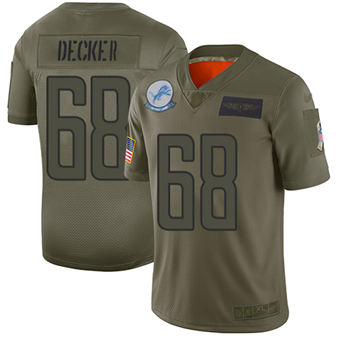 Youth Lions #68 Taylor Decker Camo Stitched Football Limited 2019 Salute To Service Jersey